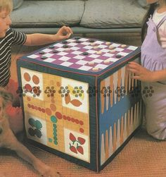 Vintage Sewing Pattern Play Cube with 5 Board Games Ludo Chess Backgammon Snakes and Ladders Solitaire by PDF for Immediate Digital Download