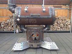 Bbq Pit Smoker, Diy Smoker, Homemade Smoker, Fire Pit Grill, Custom Bbq Smokers, Custom Bbq Pits, Gas Bottle Bbq, Barrel Bbq, Steel Barrel