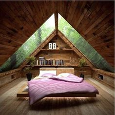 Image 34 of 40 from gallery of Cozy Small Attic Bedroom Design and Decorating Ideas. Amusing small attic bed room idea with ceiling design idea plus glass roof also pink bed for wooden floor Attic Bedroom Small, Attic Bedroom Designs, Attic Bedrooms, Bedroom Loft, Bedroom Ideas, Attic Closet, Bedroom Decor, Attic Bathroom, Attic Office