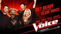 REPIN if you can't wait to see Adam Levine, Usher, Blake Shelton and Shakira when #TheVoice returns March 25!