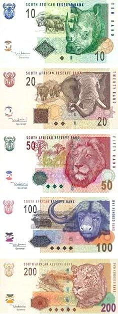 South African Rand featuring Africa's Top 5. I heard they're getting rid of the animals and featuring Mandela on the new ones...