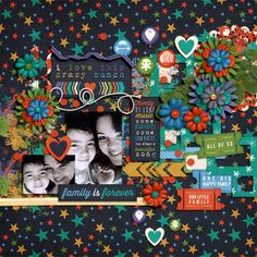 Digital Scrapbook Page by Keley | Forever Family by Bella Gypsy Facebook Freebie only available thur Feb 5