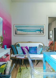 Color!  Turquoise. pink ombré wall.