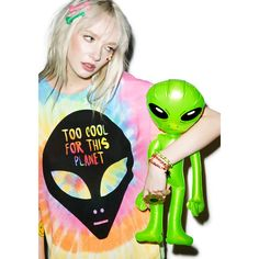 Too Cool For This Planet Tee ($38) ❤ liked on Polyvore featuring tops, t-shirts, crew t shirt, collared t shirt, galaxy print top, tye die t shirts and tie dyed t shirts
