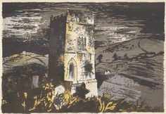 'Talland Church, Cornwall' by John Piper, 1944 (lithograph) John Piper Artist, John Minton, Coventry Cathedral, Landscape Paintings, Landscape Prints, Landscape Art, Artist Painting, Artist At Work, Printmaking