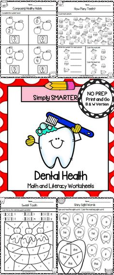 Are you looking for NO PREP math and literacy activities? Then enjoy this math and literacy resource which is comprised of FORTY DENTAL HEALTH themed WORKSHEETS. The worksheets can be used for guided math, math centers, word work, literacy centers, early finishers, enrichment, remediation, independent work, morning work, focus lessons, and homework. ALL YOU NEED TO DO IS AND PROVIDE PENCILS, CRAYONS, CLIPS, AND DICE.