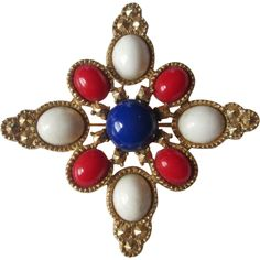 Sarah Coventry Brooch Vintage 1960s Americana Pin Red White Blue Signed Was $18 - Offers accepted, mail to: vanityflairvintage@gmail.com                  http://www.rubylane.com/item/676693-JL169/Sarah-Coventry-Brooch-Vintage-1960s-Americana