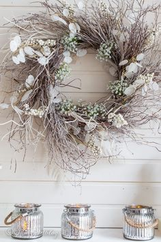 Use a twig wreath in your winter decor! This winter wreath idea works great for your winter fireplace decor or an early Spring mantel. Adding touches of white turns a natural wreath made of branches into a beautiful statement white twig wreath. Stick Wreath, Twig Wreath, White Wreath, Tulle Wreath, Christmas Mesh Wreaths, Christmas Decorations, Winter Wreaths, Spring Wreaths, Summer Wreath