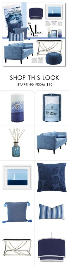 """""""Living Room Idea ~Blue Tone~"""" by gangdise on Polyvore featuring interior, interiors, interior design, home, home decor, interior decorating, Pier 1 Imports, Chesapeake Bay Candle, Dot & Bo and Johanna Howard"""