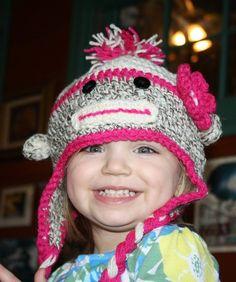 Crochet sock monkey hat by sewunexpected on Etsy, $30.00