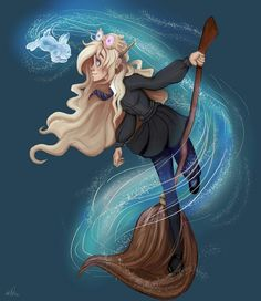 Luna Lovegood and her Patronus by MicroPixels on DeviantArt Fanart Harry Potter, Magia Harry Potter, Harry Potter Artwork, Harry Potter Drawings, Harry Potter Wallpaper, Harry Potter Characters, Harry Potter Fandom, Hogwarts, Ravenclaw