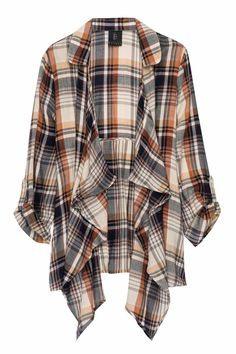 Open trench cardigan with pockets by Bobeau in a warm-colored plaid. 100% Rayon for a lightweight jacket. Easily paired with a t-shirt and jeans or with a dress and boots. No closure.  Plaid Open Trench by Bobeau. Clothing - Jackets Coats & Blazers - Kimonos & Wraps Iowa City Iowa