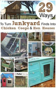 Learn how to turn everyday items junk trash and other items into amazing and practical DIY chicken coops and DIY hen houses with these 29 crazy trash ideas! Use a trampoline swingsets dressers cabinets cribs playhouses pallets armoire cars and more. Backyard Chicken Coops, Chicken Coop Plans, Building A Chicken Coop, Diy Chicken Coop, Chickens Backyard, Chicken Coop Pallets, Small Chicken Coops, Chicken Garden, Chicken Tractors