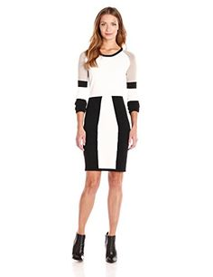 Wear To Work Womens Color-Block Long-Sleeve Sweater Dress www.weartowork.us #weartowork #dress