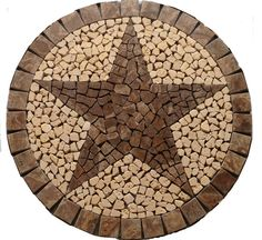 Round Cafe au Lait Marble TEXAS STAR Mosaic Tile by jdyermosaics