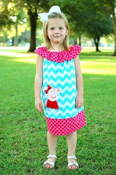 Peppa Pig Girls Dress,Girls Birthday Dress,Girls Party Dress,Ruffle Neck Peasant Dress