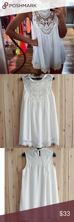White Chiffon Dress White crochet knit chiffon dress! Beautiful and light for the warmer seasons! Because of the material and style, the dress is not completely opaque so I suggest a slip underneath! Perfect for casual or more dressy events! Brand new, never worn, but didn't come with tags! Dresses