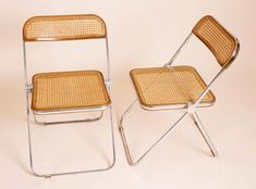 View this item and discover similar for sale at - Rare set of ten 'Plia' folding chairs designed by Giancarlo Piretti for Castelli in The seat is made of chrome frame with beige caning seating and