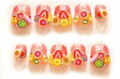 Kawaii nails, 3D nails, fake nails, orange, glittery, fruits, fimo, summer, spring nail art