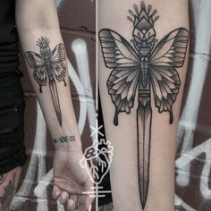 Butterfly and dagger dotwork tattoo by Sarah Herzdame. #butterfly #dagger…