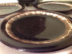Lot of 4 Vintage Pfaltzgraff Gourmet Brown Drip 10-1/8  Dinner Plates : gourmet dinner plates - pezcame.com