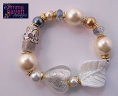 White and gold ladies bracelet by EmmaBarrettDesigns on Etsy, £9.00