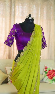 Beautiful parrot green color designer saree and purple color designer blouse with chaandbali design hand embroidery hand embroidery gold thread work. <br> Here are some Made to order Handwork sarisFor color customization Email varunigopen@gmail.comWhatsApp 9121017226. 20 April 2018
