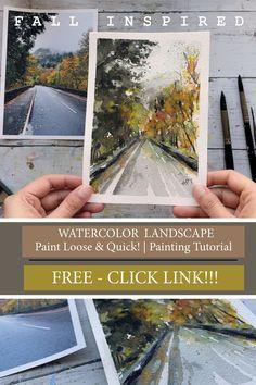 This contains: Loose Watercolor Landscape - Paint Quick Using Wet on Wet Technique