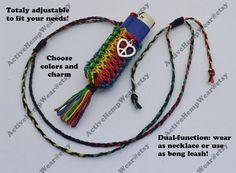 Custom Hemp Lighter Leash Necklace with Charms by ActiveHempWear