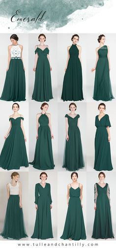 Bridesmaid dresses - emerald wedding color ideas with bridesmaid dresses 2019 wedding weddinginspiration bridesmaids bridesmaiddress bridalparty maidofhonor weddingideas weddingcolors tulleandchantilly Emerald Wedding Colors, Emerald Green Bridesmaid Dresses, Mismatched Bridesmaid Dresses, Blue Bridesmaids, Wedding Bridesmaid Dresses, Inexpensive Bridesmaid Dresses, Emerald Dresses, Green Dresses For Wedding, Green Wedding