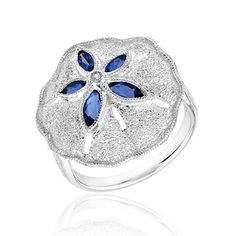 London Blue Topaz and Created White Sapphire Sand Dollar Ring | Shop REEDS Jewelers- Wish I could get this for my mom.