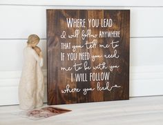 Gilmore Girls | Where You Lead Theme Song | Best Friend Gift | Mom Gift | For Her | Typographic | Inspirational Art | Wall Art | Wood Sign