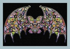 Happy Bat Halloween Cross Stitch Pattern by Alessandra Adelaide Needleworks
