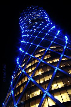 Tornado Tower by Said Aziz on Commercial Architecture, Futuristic Architecture, Facade Architecture, Amazing Architecture, Building Exterior, Building Facade, Building Design, Facade Lighting, Exterior Lighting