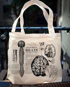 Vintage Anatomy: Brain Tote Bag - Organic Canvas   Medical Neurology Anatomical Science Doctor Nurse Cranial Smart Student Gift
