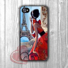 Eiffel Tower Paris w red dressed Lady Vintage Painting -mt for iPhone 6S case, iPhone 5s case, iPhone 6 case, iPhone 4S, Samsung S6 Edge
