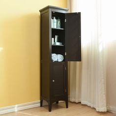 2 Door Linen Tower Storage Cabinet Bathroom Towel Shelves Dark Brown Espresso