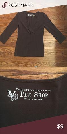Victoria's Secret Tee Shop, brown vneck Flattering top! 100% cotton, 3/4 length sleeves Victoria's Secret Tops