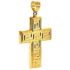 10K Yellow Gold Greek Key Cross Mens Pendant at http://www.24diamonds.com/10k-yellow-gold-greek-key-cross-mens-pendant_30132.html