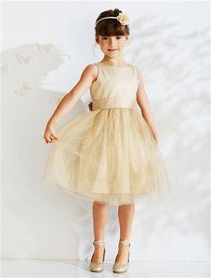 Robe de cérémonie en tulle et satin de coton BLANC+BEIGE IRISE - vertbaudet enfant