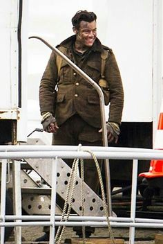 Harry Styles on the set of Dunkirk.