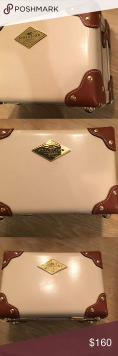Steamline Small Vanity Case Steamline Luggage 11.8x7.9x4.7 inches Beautiful leather vanity case. Great for travel to all your beauty products and jewelry.   https://www.steamlineluggage.com/the-diplomat-cream-vanity-case.html Steamline Luggage Bags Crossbody Bags