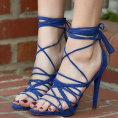 Blue Strappy 'Chancy' Heels
