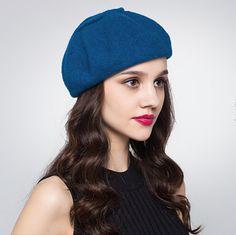 Autumn plain beret hat for women wool winter hats