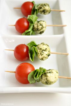 Tomato and Mozzarella Skewers with Pesto Sauce  on MyRecipeMagic.com