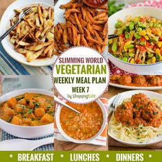 Slimming Eats Vegetarian Weekly Meal Plan - Week 7 - Slimming World recipes - taking all the work out of planning so that you can just cook and enjoy the food. Vegetarian Weekly Meal Plan, Veggie Meal Plan, Diet Meal Plans, Veggie Recipes, Diet Recipes, Vegetarian Recipes, Healthy Recipes, Vegetarian Weight Loss Plan, Meal Prep