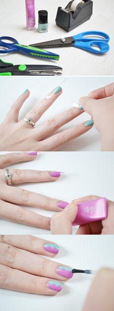 10 impresionantes diseños de uñas usando cinta adhesiva | En el Show