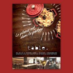 Publicité 2015 du restaurant Table à Québec par Tommy Ikare Desrosiers