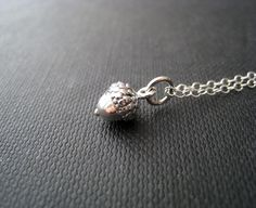 Silver acorn necklace-teeny tiny acorn charm in sterling silver fine chain, nature jewelry