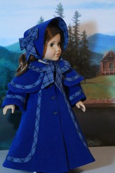 Absolutely darling wool coat and bonnet for American girl dolls. Reminds me of the book Little Women.